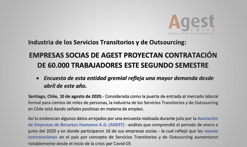 EMPRESAS SOCIAS DE AGEST PROYECTAN CONTRATACIÓN DE 60.000 TRABAJADORES ESTE SEGUNDO SEMESTRE