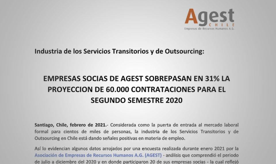 EMPRESAS SOCIAS DE AGEST SOBREPASAN EN 31% LA PROYECCION DE 60.000 CONTRATACIONES PARA EL SEGUNDO SEMESTRE 2020